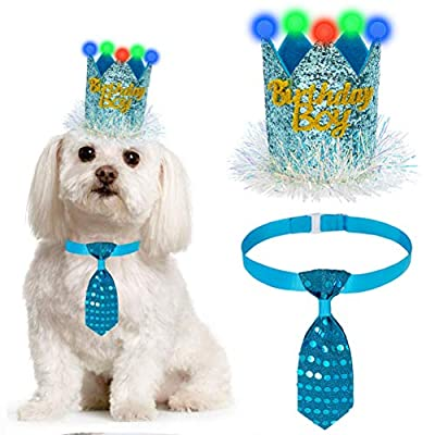 LED Dog Birthday Hat and Tie Set - Cute and Shiny Pet Party Supplies, Crown and Adjustable Necktie Collar, Unique Pet Birthday Outfit and Accessories for Dogs