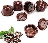 Cápsulas de café recargables, 5 unidades reutilizables de café café café cápsulas tazas libres de BPA compatibles con la máquina Dolce Gusto para café molido, filtro de café