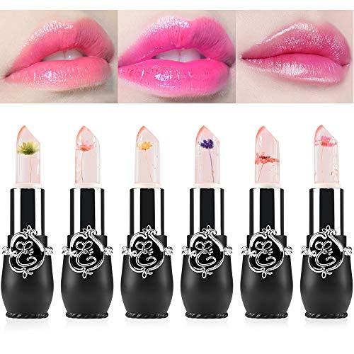 Freeorr 6 STÜCKE Kristall Blume Gelee Lippenstift Set,Farbe ändern Langlebige Nahrhafte...