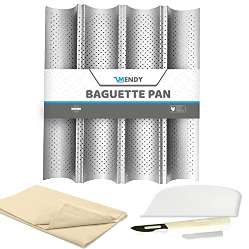 MENDY Baguette Pan for Baking French Bread Baking - 4 Loaf Tray Stainless Steel Perforated Nonstick Tray   Dough Cutter/Scraper, Bread Lame and Proofing Couche Cloth Kitchen Utensils