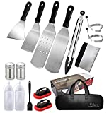 Velaco Griddle Accessories Kit for Blackstone & Camp Chef Griddle, 16 PCS Flat Top Griddle Grill Tools Setwith Metal Spatula, Scrape, Egg Ring, Cleaning Kit & Case Bag for Outdoor Cooking and Camping