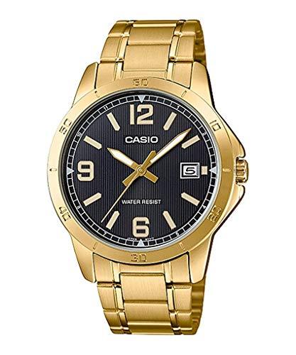 Casio MTP-V004G-1B - Reloj analógico para hombre con esfera de acero inoxidable y fecha, color dorado