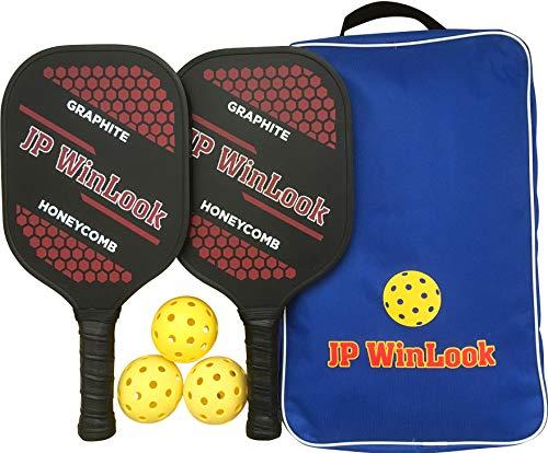 JP WinLook Pickleball Paddle Set - 2 Premium USAPA Approved Graphite Rackets Honeycomb Composite Core 3 Balls, Ultra Cushion Grip, Portable Racquet Cover Case Bag Accessories Gift Kit, Men Women Kids