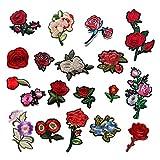 Hierro en el parche Bordado Parches, 19 piezas DIY Flor Rosa Parche Parche bordado Cosa en parches Apliques para ropa Chaquetas Camiseta Jeans Falda Chalecos Sombrero Sombrero