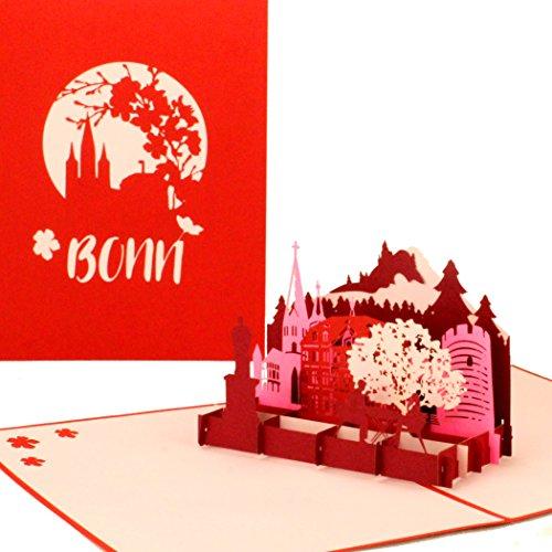 """Pop Up Karte """"Bonn – Panorama"""" Bonner Stadtmotiv als 3D Grußkarte - Einladungskarte, Souvenir, Städtekarte, Glückwunschkarte, Geburtstagskarte. Reisegutschein &Geschenk"""