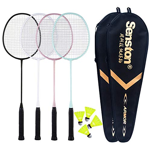 Senston Badminton Rackets Set for Family Play, 4 Pack Badminton Set Outdoor...