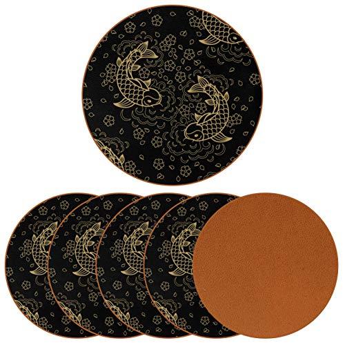 Posavasos para bebidas Golden Koi Carp Fish Print de cuero redondo taza taza almohadilla para proteger muebles, resistente al calor, decoración de bar de cocina, juego de 6