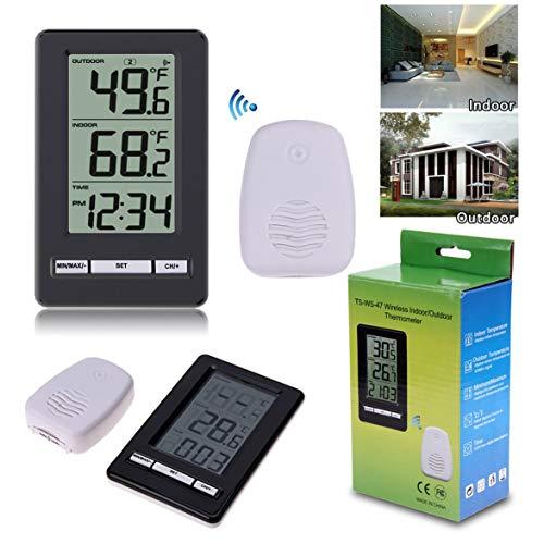 Sylvialuca TS-WS-47 Digitale draadloze thermometer voor binnen en buiten, tijdweergave, tafel, weerstation