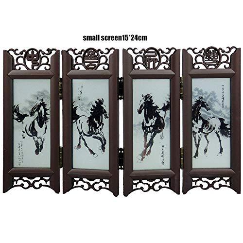 ANAN Paravent Kunsthandwerk Desktop-Dekoration chinesischen Retro-Glas antiken Mini-Bildschirm Schmuck Raumteiler Bildschirm,1