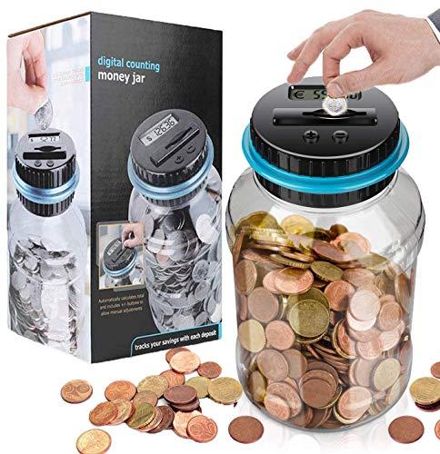 Spardose Zähler Sparschwein mit LCD Anzeige,automatische Münzenzählglas Sparbüchse große Kapazität,spardose zähler münzen,digital Piggy Bank,münzen zählwerk ,digital Piggy Bank Kinder Freunde(Blau)