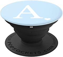 White Initial Letter A Heart Monogram On Pastel Light Blue PopSockets Grip and Stand for Phones and Tablets