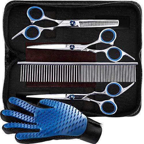 ELMA ALMI Dog Grooming Scissors - Dog Scissors for Grooming, Pet Grooming Scissors, Dog Grooming Kit (Blue, Straight Tip&Grooming Glove)