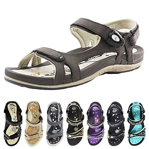Gold Pigeon Shoes GP Signature SNAP Lock Sandals for Women: 9179 Brown, EU39 (US Size 8-8.5)