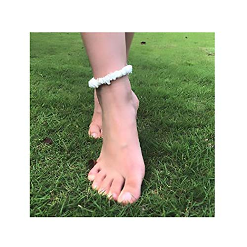Campsis Natural Puka Shell Clips Anklets White Conch ShellAnklet Bracelet for Women and Girls