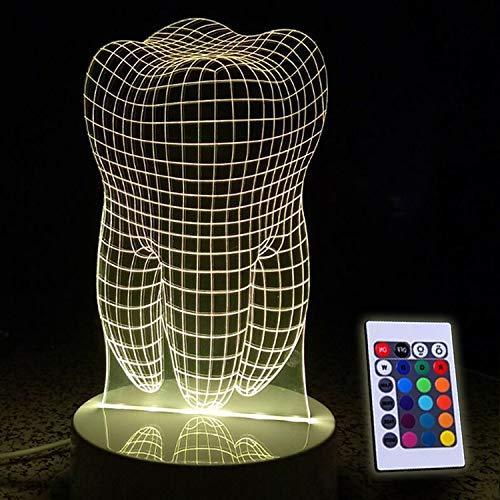 Hyy-yy Diente 3D LED RGB interruptor del tacto de 7 colores Luz de carga escritorio de la noche regalos lámpara de mesa de noche Decoración de Navidad Luz 5V
