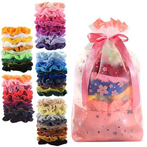 50 Colores Velvet Elástico Hair Scrunchies, Lazos Elásticos De Banda Pelo Stretchy Multicolor De Terciopelo Accesorios Para El...