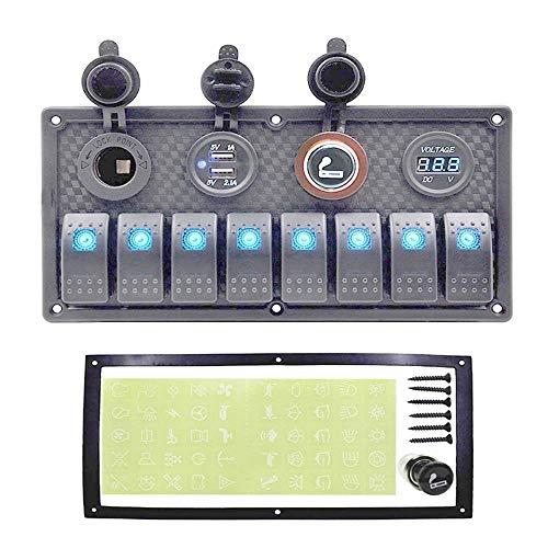Impermeable interruptor del cuadro de interruptor digital Barco voltímetro del coche Grupo 12~24 V + Interruptor de carga USB LED Port Control + Rocker (Color : 8 Gang Blue LED)