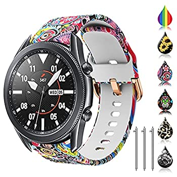 TOOLAIK Florai 22mm watch band Compatible for Samsung galaxy watch 3 45mm/Gear S3 Frontier/Classic,Silicone 22mm watch band quick release for Women Men  Jellyfish