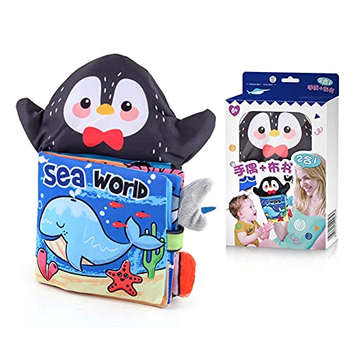 Baby Bath Books, Baby Cloth Book with Hand Puppet Touch and Feel Crinkle Tail Puppet Storytelling Book for Babies Infants Toddler