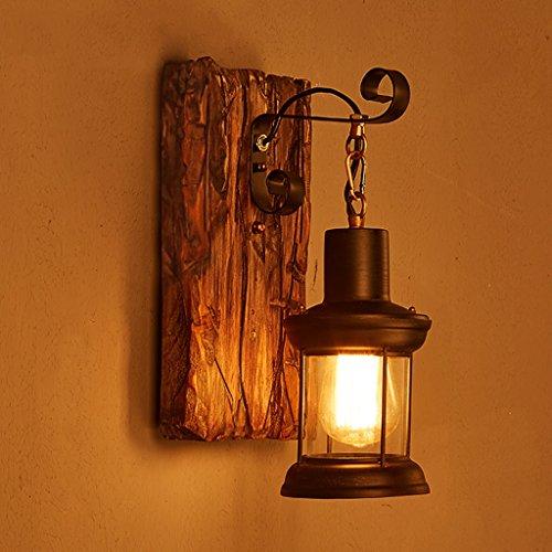 Una buena iluminación American Retro Arte de madera tienda de ropa de la linterna bar restaurante de café de cristal nostálgica dormitorio de la lámpara de pared