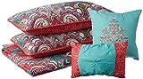 VCNY Home | Casa Real Collection | Weiche Mikrofaser Paisley Wende-Tagesdecke, Premium 5-teiliges Bettwäsche-Set, stilvolles Retro-Design für Heimdekoration, King-Size-Bett, Korallenrot