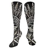 Myhou Lange Socken für Damen & Mädchen, mit Totenkopf-Motiv