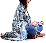 Boho Blanket For Meditation, Yoga & Living ~ Reversible Blue / Grey Mandala. Quality, Woven, Tapestry, Indoor or Outdoor Rug. Great Beach / Travel / Picnic Blanket, Sofa / Couch or Bohemian Bed Throw.