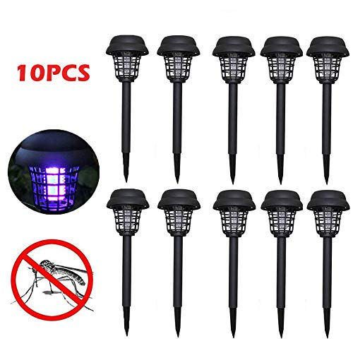 Naiflowers 10PC Solar Powered Mosquito Zapper Bug Killer Insect Killing Lamp Indoor Outdoor Ground Backyard Garden Patio Lawn Solar Powered Pest Light Best Stinger Moth Fly