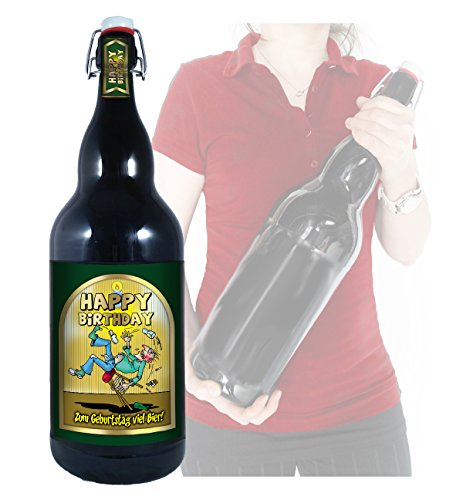 Happy Birthday - 3 Liter XXL-Flasche Bier mit Bügelverschluss