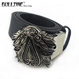 Buckes - The Ezio Audito Belt Buckle with Gun Black Finish with PU Belt with Connecting Clasp FP-03697 Drop Shipping