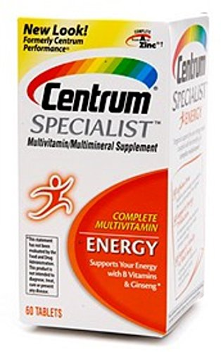 Centrum Specialist Energy Adult (60 Count) Multivitamin / Multimineral Supplement Tablet,Vitamin D3, C, B-Vitamins and Ginseng (Pack of 2)