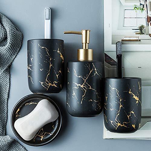 BQSWYD Edles Bad Accessoires Set, 4-teiliges Stilvolles Badzubehör mit Marmor Seifenspender, Seifenschale und Zahnputzbecher, Badezimmer Zubehör Set aus Keramik