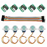 Dorhea 5PCS 28BYJ-48 ULN2003 5V Stepper Motor + ULN2003 Driver Board Compatible with Arduino + 20 PCS Male to Female Jumper Wire Cable