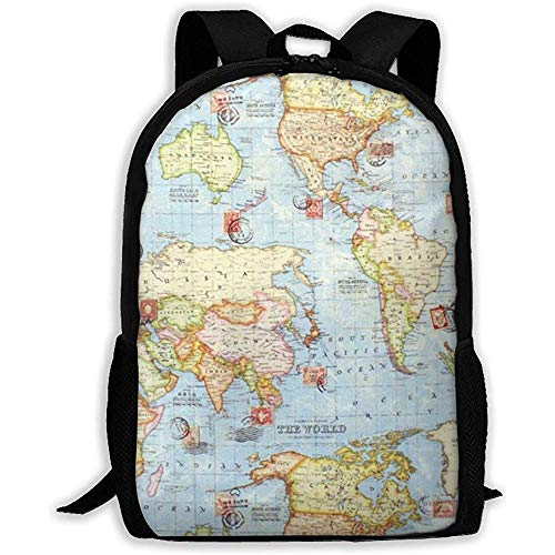 Atlas World Map Blue Travel Laptop Bookbag, Business Bag Travel, Impermeable Anti-Theft College Schoolbag