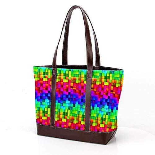 Laptoptasche mit mexikanischem Kalender Druck, Schultertaschen Casual Canvas Business Tote Bag Aktentasche für Computer Schule Büro Color3