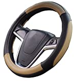 Mayco Bell Car Steering Wheel Cover 15 inch No Smell Comfort Durability Safety (Black Beige)