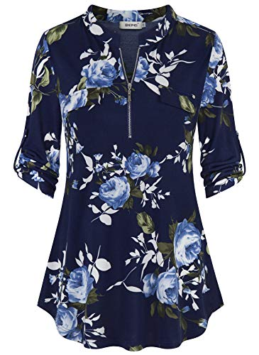 BEPEI Tunics for Women to Wear with Leggings,Ladies 3/4 Roll up Sleeve Zipper V Neck Chiffon Shirts Career Blouses Floral Printed Pattern Flowy Hem Tunic Tops Mock Pocket Design Blouses Navy Blue M