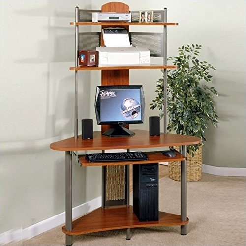 Wood Top Small Corner Computer Desk with Shelves Cherry