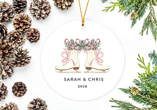 prz0vprz0v Gepersonaliseerd kerstornament, schaatsen met snoepjes Keepsake Gift