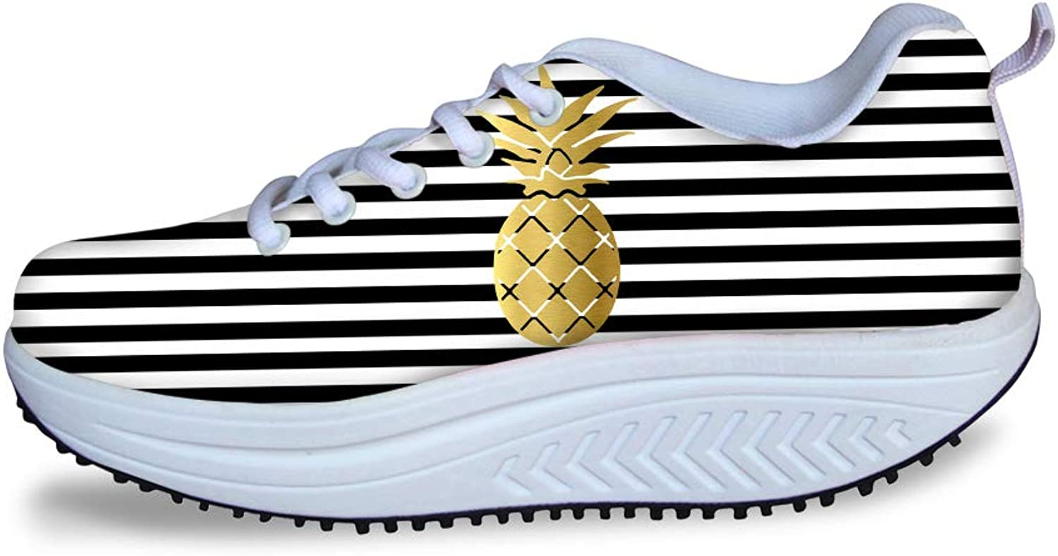 Owaheson Swing Platform Toning Fitness Casual Walking shoes Wedge Sneaker Women gold Foil Pineapple