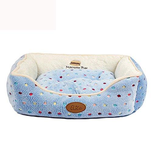 Lwf-2117 Dog Bed Matelas,En Peluche Douce Lavable en Avec , blue , XS