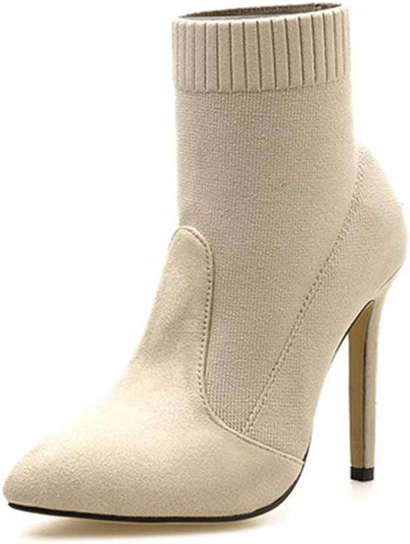 Damen Stricken Stiefeletten Fashion Spitze Zehe Stiletto Warme Warme Warme Wolle Herbst Winter Kurze Stiefel  a25510