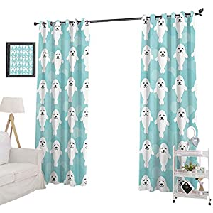 YUAZHOQI Window Treatment Curtains White Baby Seals with Cute Faces Children Baby Smiling Cheerful Kids, Blackout Curtains for Nursery 52″ x 95″,