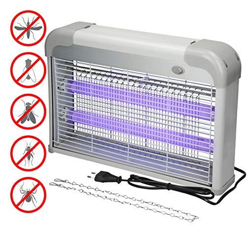 ECD Germany Insektenvernichter UV-Insektenfalle - 2000-2200V Gitterspannung - 20 Watt - 60 m² Wirkungsbereich - Mückenschutz Ohne toxische Chemikalien - Insektenfalle Insektentöter UV-Licht Insekt