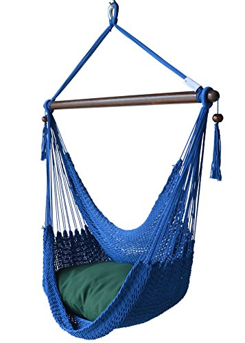 Caribbean Hammock Chair with Footrest - 40 inch - Soft-Spun Polyester - (Dark Blue)