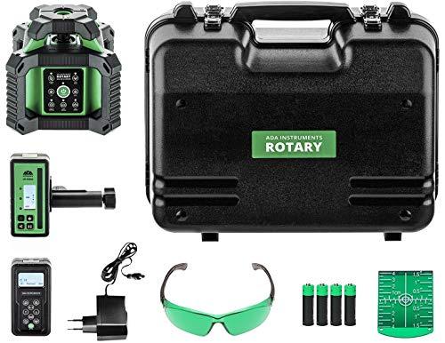 ADA ROTARY 500HV-G - Láser rotativo (máx. rango de trabajo: 500 m de diámetro, láser verde, baterías Ni-MH, IP 65, receptor láser, mando a distancia, gafas láser, pizarra, maletín de artesanos)