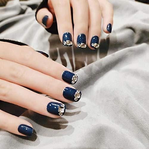 TJJF 24 Pcs/Boîte Avec Flash Diamant Brume Bleu Haute Brillance Main Blanc Court Manucure Faux Ongles Patch Produits Finis Appuyez Sur Les Ongles