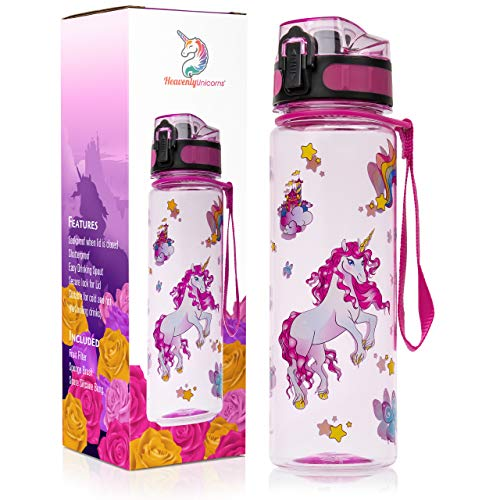 HeavenlyUnicorns Kids Unicorn Water Bottles for Girls, School, Work, Travel, LEAKPROOF, SHATTERPROOF, BPA Free 500ML