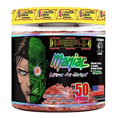 Terror Labz, Maniac, Extreme Pre Workout Powder for Men and Women, Energy, Focus and Intensity, Thermogenic Fat Burner for Men & Women, Made in USA (Watermelon)