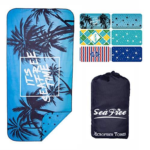 Sea Free Asciugamano in Microfibra da Spiaggia, Doppia Faccia Stampato Teli Viaggio, Uomo Donna Asciugatura Rapida Telo da Palestra Asciugamani Sportivi per Nuoto e Bagno con Tasca (Albero| 160x80cm)